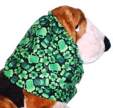Dog Snood Shamrocks Pints Mugs Green Black Cotton Basset Hound Springer ... - $12.50