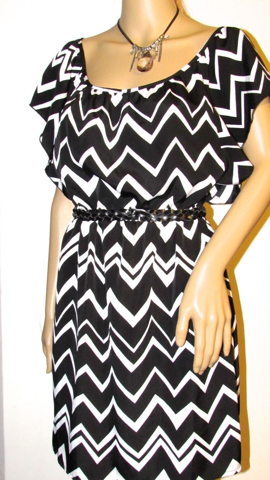 6 Degrees Blk/Wht Multi-Color Short Sleeve Dress Boat Neck Style#IJD2511-GGC M