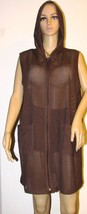 Sun Casuals Mesh Hooded Zip Front Beach Cover Up - Brown Size: M