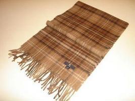 Brown checked shawl,scarf made of Babyalpaca wool  - $68.00