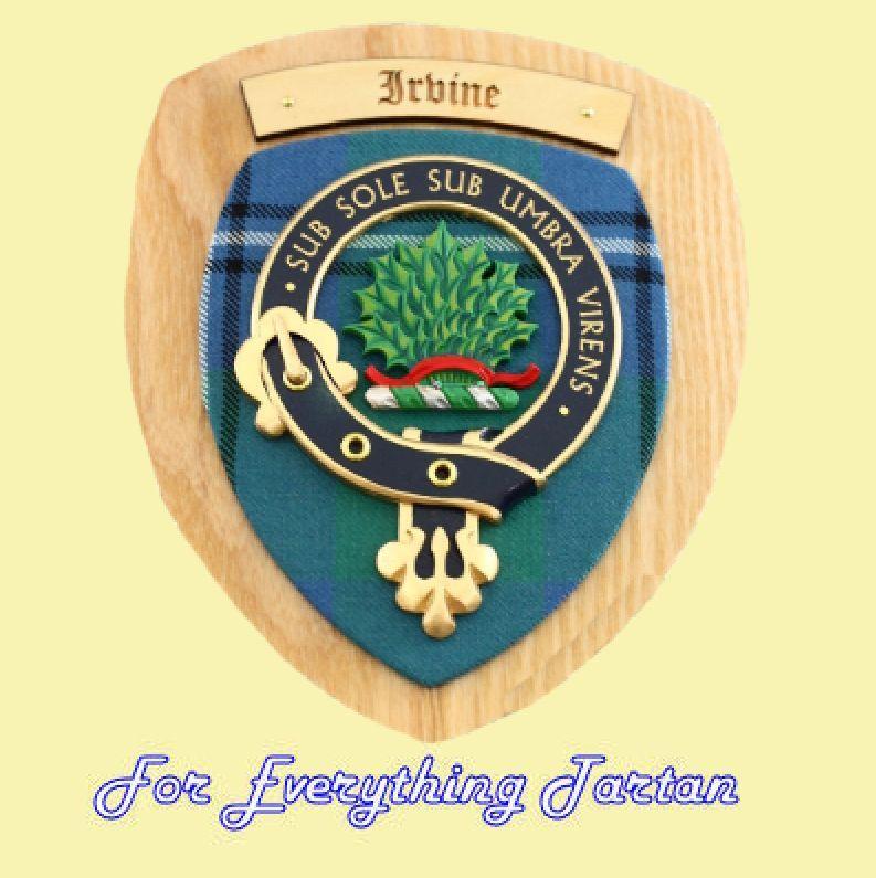 Clan irvine tartan woodcarver wooden wall plaque irvine for 18 8 salon irvine