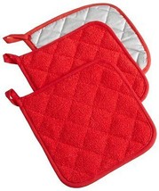 NEW Terry Potholder Red Set of 3  Cotton Heat R... - $14.37