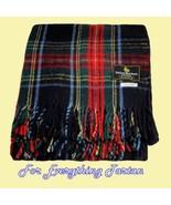 Stewart Black Modern Clan Tartan Lambswool Blan... - $150.00