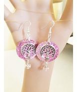 Silver tree pink sequin earrings bead drop dangles handmade jewelry,  - $5.99