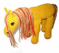 Crocheted Stuffed Fantasy Horse Golden Yellow With Red Sparkle Highlight... - $35.00