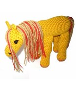 Crocheted Stuffed Fantasy Horse Golden Yellow With Red Sparkle Highlight... - $666,47 MXN
