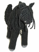 Plush Stuffed Pegasus Winged Horse Solid Black with Spreadable Wings, Cr... - $35.00