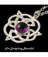 Celtic Knot Amethyst Floral Puff Motif Sterling... - $115.00