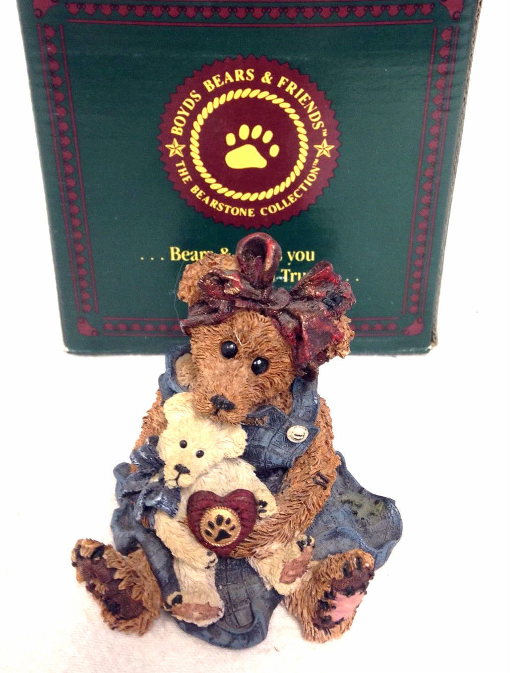 "Boyds Bearstone ""Momma McBear & Caledonia..Quiet Time"" #227711- 1998- Retired"