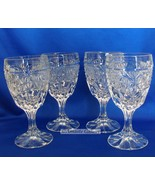 "Wine Liquor Drink Water Glass Pressed Patterned Crystal 6"" Tall - $60.00"