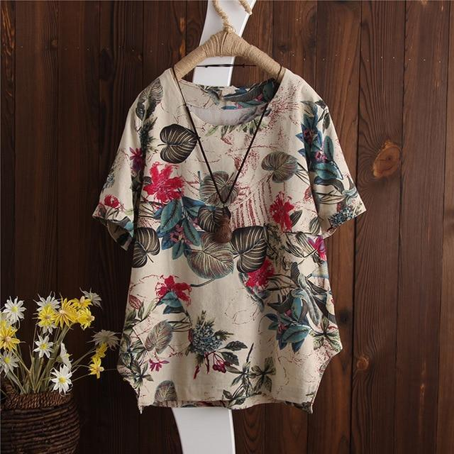 Plus Size 2018 ZANZEA Women Vintage Floral Printed O Neck Short Sleeve Blouse Su image 3