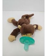 WubbaNub small plush brown monkey pacifier stuffed baby toy tan feet snout - $4.94