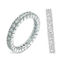 Sterling Silver ring size 8 CZ Round cut Eternity Wedding Band Engagemen... - $16.43