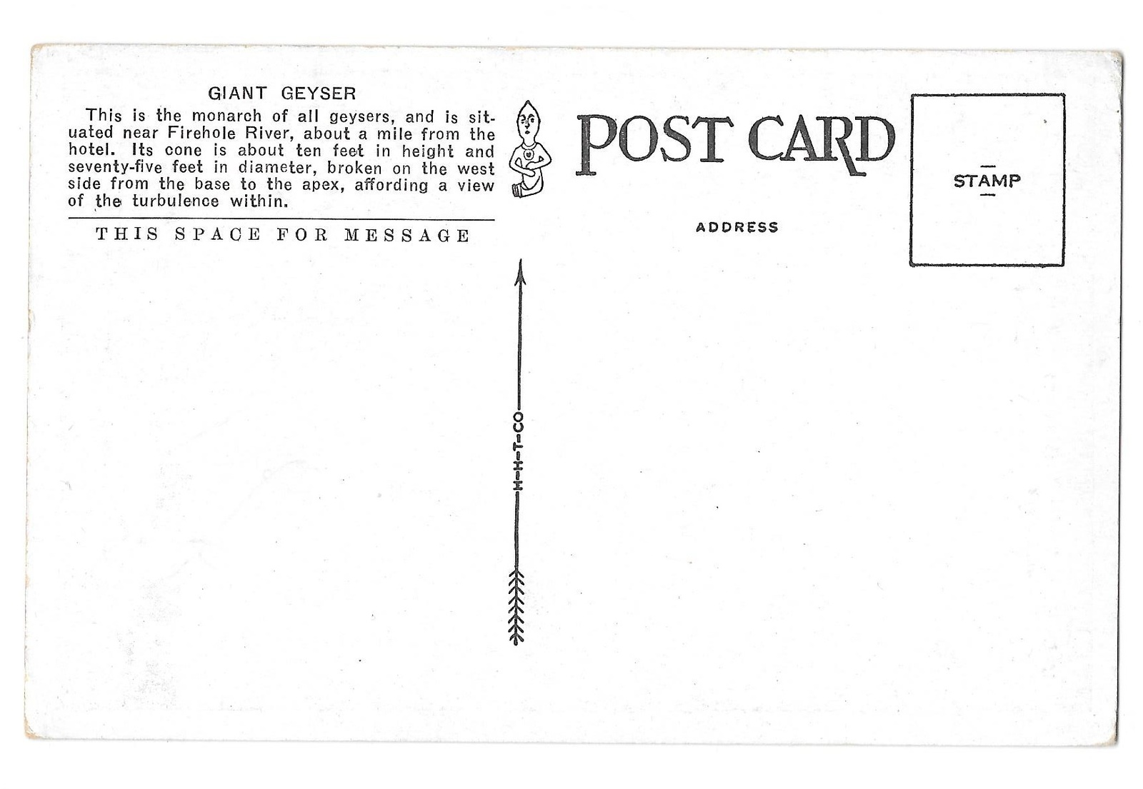 WY Yellowstone National Park Giant Geyser Vintage Tammen Postcard