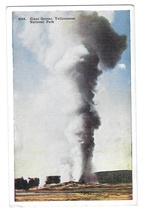 WY Yellowstone National Park Giant Geyser Vintage Tammen Postcard - $4.99