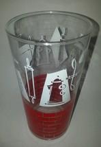 Mid century Drinking Glass red brick colonial kitchen utensils  pattern - $10.84