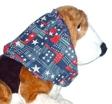 Dog Snood Stars Stripes Block Print Cotton Cavalier KC Spaniel Puppy SHORT - $9.50