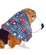 Dog Snood Stars Stripes Block Print Cotton Cavalier KC Spaniel Puppy SHORT - $9.50