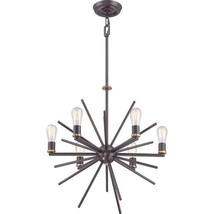 Sputnik Starburst 6 Light Chandelier Mid Century Modern Quoizel Uptown  ... - $489.00