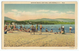 Lake George NY Bathing Beach East Side Linen Vintage Postcard - $8.95