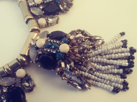 Vintage Ethnic Looking Necklace, Heavy Silver Tone and Blue Necklace - $28.00