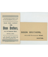 Dixon Bros Boston 1890 trade catalog price list liquors ephemera Victori... - $9.00