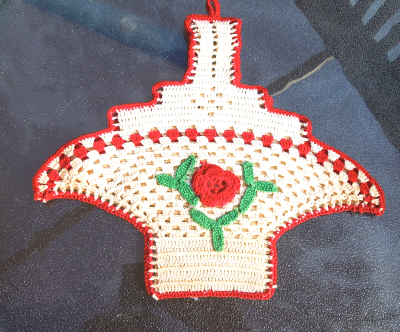 Vintage Mid-Century Crocheted Hot Pad / Basket With Loop-Opens into Basket #5082 - $4.49