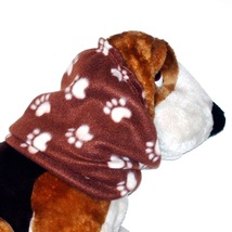 Brown Cream Paw Prints Fleece Dog Snood Cavalier KC Spaniel Size Puppy S... - $9.50