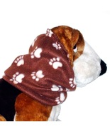 Brown Cream Paw Prints Fleece Dog Snood Cavalier KC Spaniel Size Puppy S... - $11.00