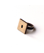Stylish rectangular wooden ring with natural wooden tone - model 1/1 - $39.00