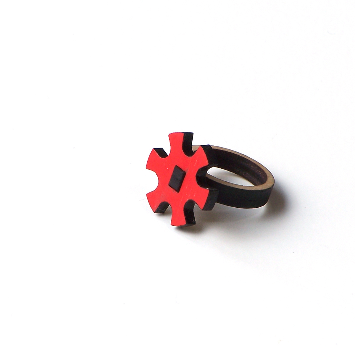Stylish laser cut wooden ring - model 11/2, cogwheel ring, unique wood jewelry,