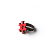 Stylish laser cut wooden ring - model 11/2, cog... - $29.00