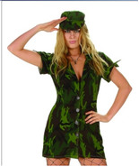 81462 Camouflage Soldier Army Uniform Costume Mini Dress and Hat, Size M - $39.99