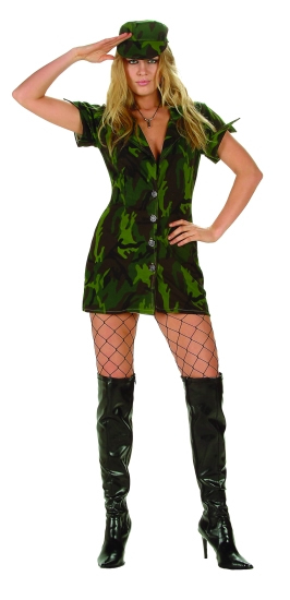 81462 Camouflage Soldier Army Uniform Costume Mini Dress and Hat, Size M