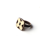 Elegant laser cut wooden ring with geometric pattern - model 6/1 - $39.00