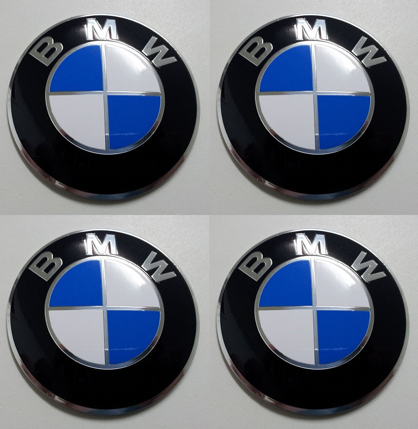 Primary image for Set of 4 - car wheel center cap stickers - BMW Domed