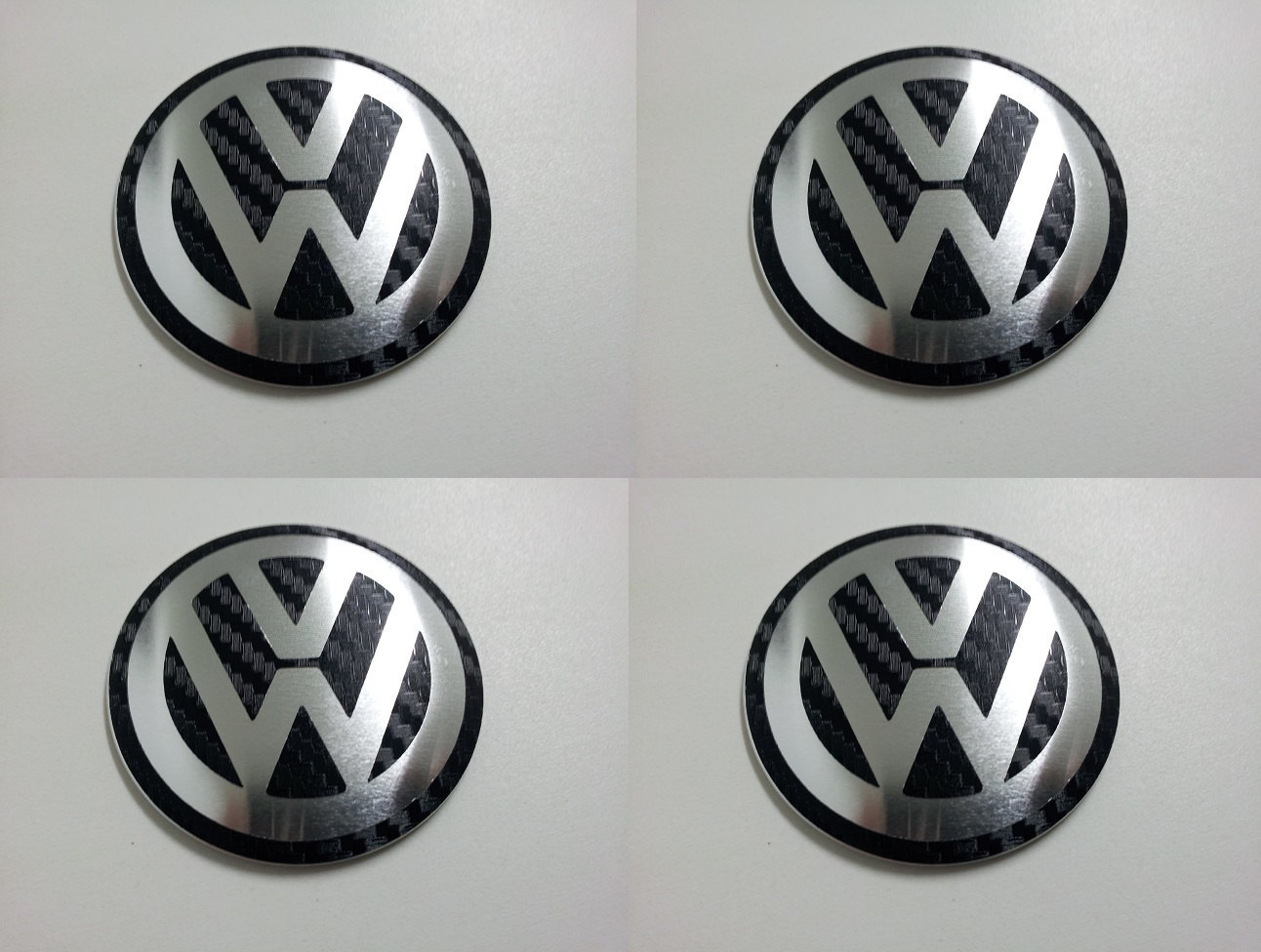 Primary image for Set of 4 - car wheel center cap stickers - VW Domed Black&Chrome Carbon