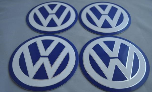 Primary image for Set of 4 - car wheel center cap stickers - VW Blue&White
