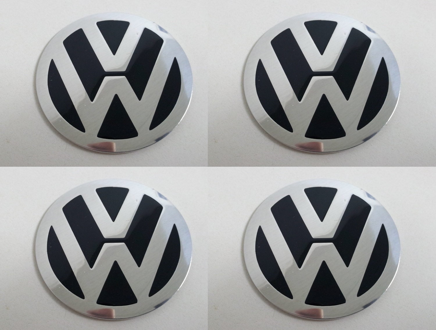 Primary image for Set of 4 - car wheel center cap stickers - VW Domed Black&Chrome version 2