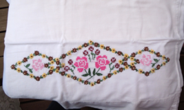"""Set of 2 Vintage Embroidered Cotton Pillowcases - Approximately 18"""" x 31... - $12.99"""