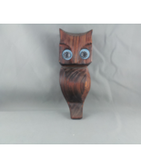 Vintage Wood Carved Owl - Pyschedelic Eyes and Grain to the Wood - Very ... - $39.00