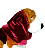 Dog Snood-Cranberry Red Stretch Velvet-Bloodhound-Standard Poodle-Size XL - $17.50