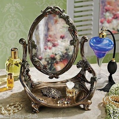 vanity table mirror accent plate tabletop makeup stand standing bedroom vintage mirrors. Black Bedroom Furniture Sets. Home Design Ideas