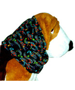 Dog Snood Multicolor Bright Music Notes Black Cotton Basset Afghan Puppy... - $10.50
