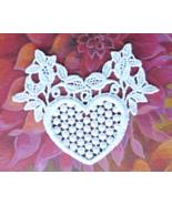 """Vintage Heart Shaped White Lace Applique - 2 3/4""""  x  2 1/2""""     #80298 - $3.79"""