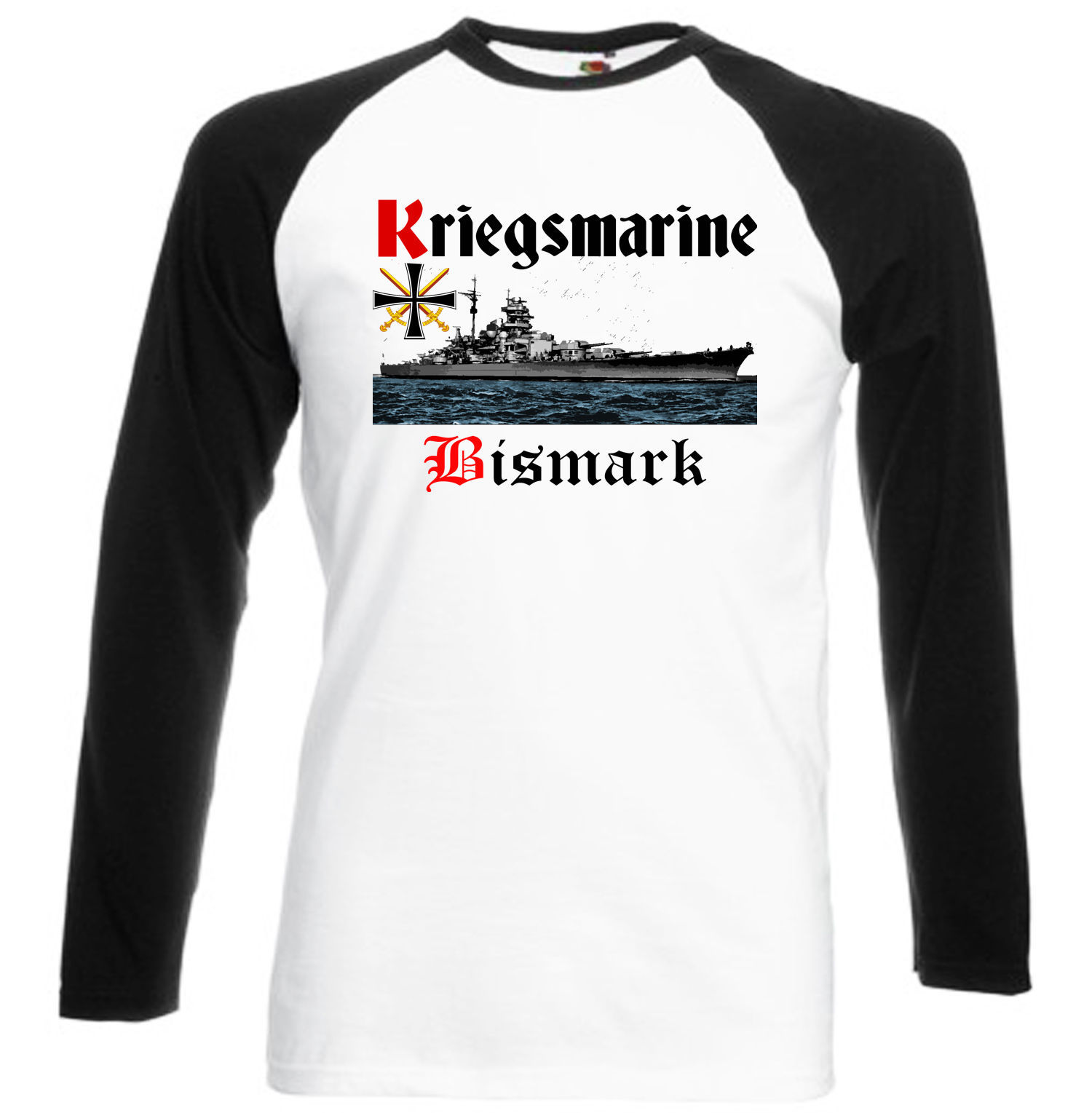 Primary image for KRIEGSMARINE BISMARCK GERMANY WWII - BLACK SLEEVED BASEBALL TSHIRT S-M-L-XL-XXL