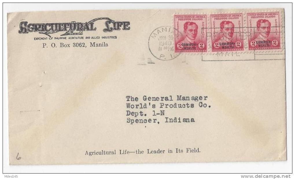 Philippines Commercial Cover 1940 Agricultural Life Sc 433 Overprint