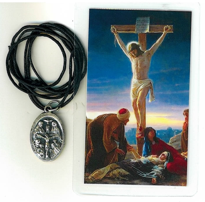 Necklace   jesus crucificado medal   holy card h125.0952 001