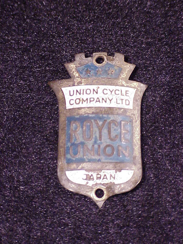Primary image for Vintage Royce Union Bicycle Emblem, bike, very worn, made in Japan