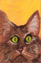 Original Acrylic Cat with an attitude Acrylic Painting 4x6 - $49.95